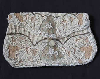 VINTAGE EVENING PURSE Cream & Brown Beading .Beautiful for a Project needs Tlc .