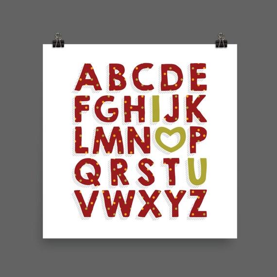 I LOVE YOU (Patterned - Cranberry Harvest) Alphabet Poster Print - Nursery, Kids Room, Wall Art Modern
