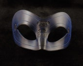 Hand Molded Floral Embossed Blue and Black Masquerade Mask