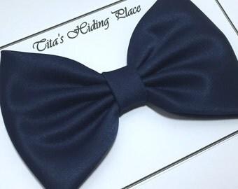 Navy Satin Fabric Hair Bow, Girls Hairbow, Big Bow, Extra Large Bow, Retro Hair Bow
