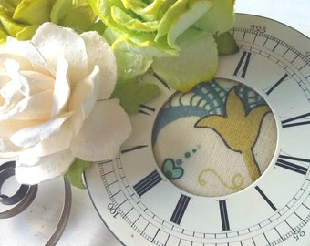 Green and White Steampunk Pocket Watch Face and Main Spring Flower Hair Clip