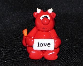 A Little Devil Loves You-Handmade Polymer Clay Figurine