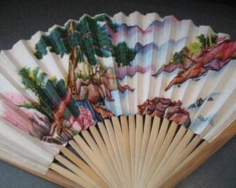 Vintage Hand Fan With Landscape Design