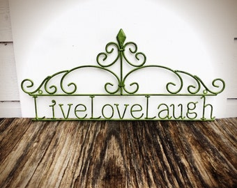 BOLD Live love laugh wall art // ornate victorian inspired // olive green metal art // shabby chic french country