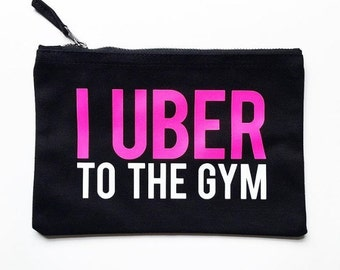 UBER to THE GYM Make Up Pouch | Makeup Bag-Cosmetic Bag-Brush Holder-Makeup Storage-Make-up-Mother's Day Gift