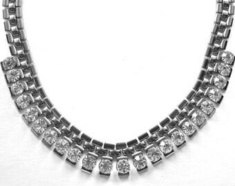MODERNIST Machine Age  Rhinestone and Silver Link Vintage Necklace Circa 1970