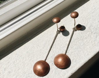 Equilibrium - Sterling Silver & Copper Minimal Drop Earring