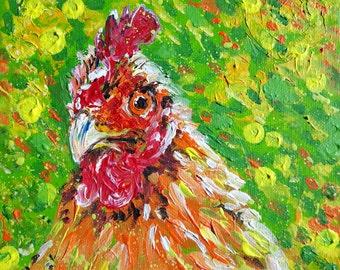 "Original painting of hen,chicken  ""Mabel"""
