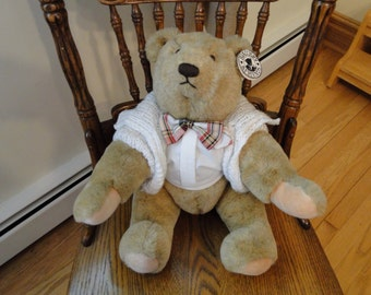 Vintage Gund Bialosky Bear, Teddy Bear dressed in Sweater Jacket & Tie, Moveable Arms and Legs, Large Stuffed Toy