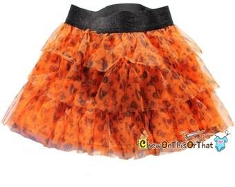 Orange Halloween Tutu Skirt with Black Elastic Band and Satin Lining - Toddler Flared Ruffled Skirt