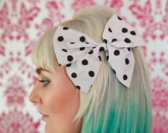 Large Grey & Black Spot Hair Bow, Hair Bows, Jojo Bows, Hair Clip, Bow, Hair Accessories, Hair Pin, Grey Bow