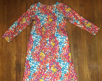 Empire dress scoop neck l/s 60s fashion floral abstract pattern S/M party dress hand made vintage