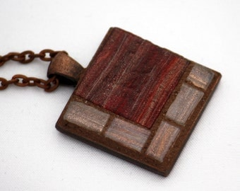 Wine Red & Bronze Necklace with Glass Mosaic