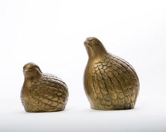 Brass Partridge Figures Vintage Bird Quail Paperweight Decor Pair Set of 2