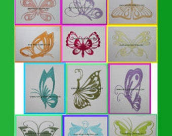 Butterflies Set of 10  Digitized Machine Embroidery Design Butterfly Bug