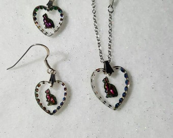 Cat Heart Shaped Etched Earrings and Necklace