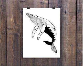 Whale Art, Ocean Art, Shore Life, Pen and Ink Art, Black and White Art, Pen Art, Line Art, Hump Back Whale Drawing, Sea Art, Beach Decor