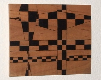 Abstract perspective art handcrafted in pyrography on maple, harlequin checker art wood burned in fantastic pattern on wood, abstract art