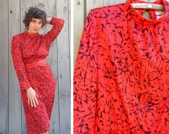 Vintage dress | Blair red and black 80s secretary dress