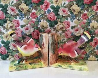 Vintage Kitsch Pretty Bird Bookends