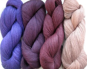 Linen Yarn Purple Violet Pink Blue 400 gr (14 oz ), Cobweb / 1 ply, each hank contains approximately 3000 yds
