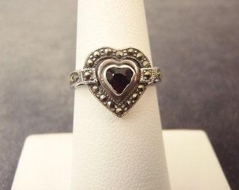 Sterling Silver Garnet Marcasite Heart Ring Sz. 6 1/2  R59