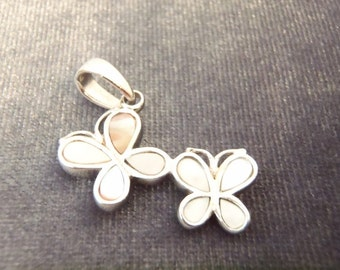 Sterling Silver Mother of Pearl Butterfly Pendant P73