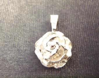 Sterling Silver Rose Pendant P80