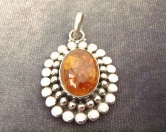 Sterling Silver Dotted Oval Amber Pendant P78