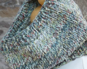 Green/Red/Brown Mix Hand Knit Cowl