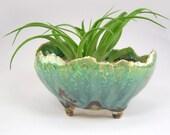 Blue Green Bonsai Accent Planter, Small Footed Green Flower Pot, Kusamono Pot with Green and Blue Glaze, Mini Succulent Pot 01-16-53