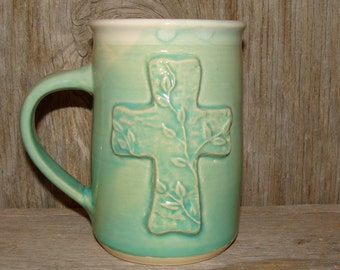 Aqua Green 16 oz. Cross Mug