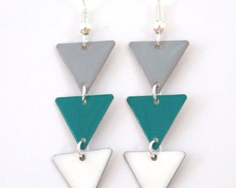 "Earrings ""Pennant indigo white grey"""