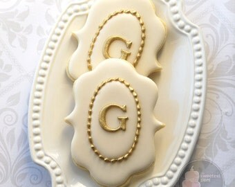 Elegant Ivory and Gold Fancy Plaque Monogram Cookies - One Dozen Decorated Wedding Cookies