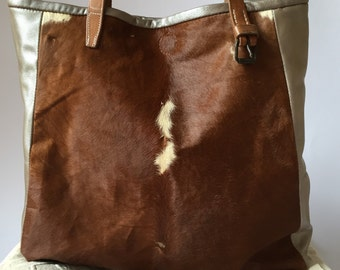 """Original, tote bag made from """"cow print"""" leather, metallic calfski, vintage czech republic leather straps."""