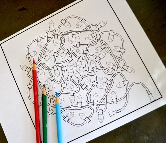 String of Lights downloadable Christmas coloring page classic
