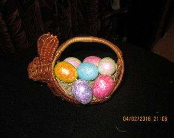 Small Rabbit Basket with Glitter Eggs