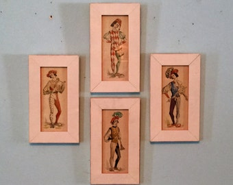 Whimsical set of 4 #JESTER WATERCOLOR PRINTS #midcenturymodern