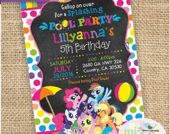 My Little Pony Pool Party, printable invitation, not instant download