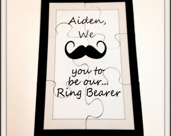 Will you be my Ring bearer?  Mustache ring bearer.  Ask your little man to be in your wedding.  Ask ringbearer