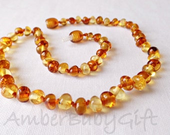 Baltic Amber Teething Necklace For Babies and Children, Lemon and Cognac Amber, Amber Jewelry, Amber Necklace, Nursing, Teething Jewelry