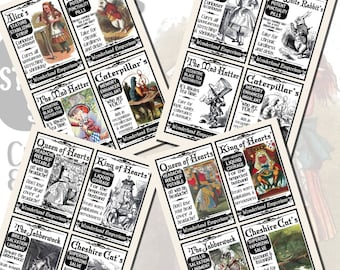 Fantasy Potion Labels -- Alice in Wonderland, POSTCARD SIZE, (3.5 x 5 Inch or 12.7 x 8.8 cm), 12 Total