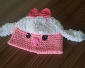 Crochet lambie hat-MADE TO ORDER-halloween costume- Newborn lambie hat, Crocheted lambie Cap,for twins