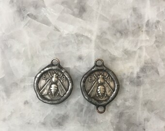 Ancient Greek Bee Coin, Connector OR Pendant, Ephesus-Ionia, Replica, Soldered, 2 Sided, Lead Free