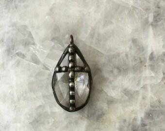 Crystal Cross Pendant, Solder Dots, Chandelier Prism, 38mm