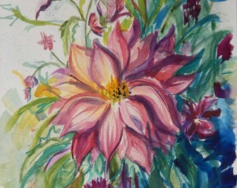 Garden Dahlias Original Watercolor 12x14