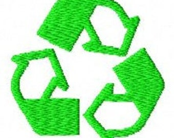 Recycling symbol machine embroidery design 2 inch instant download