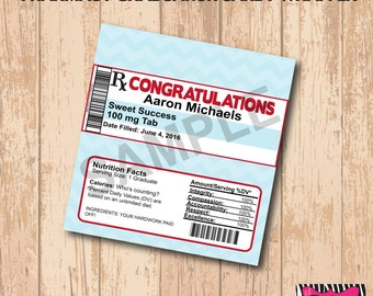 DIY Printable Pharmacy Graduation Candy Bar Wrapper