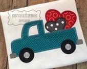 Heart Truck Machine Embroidery Applique Design