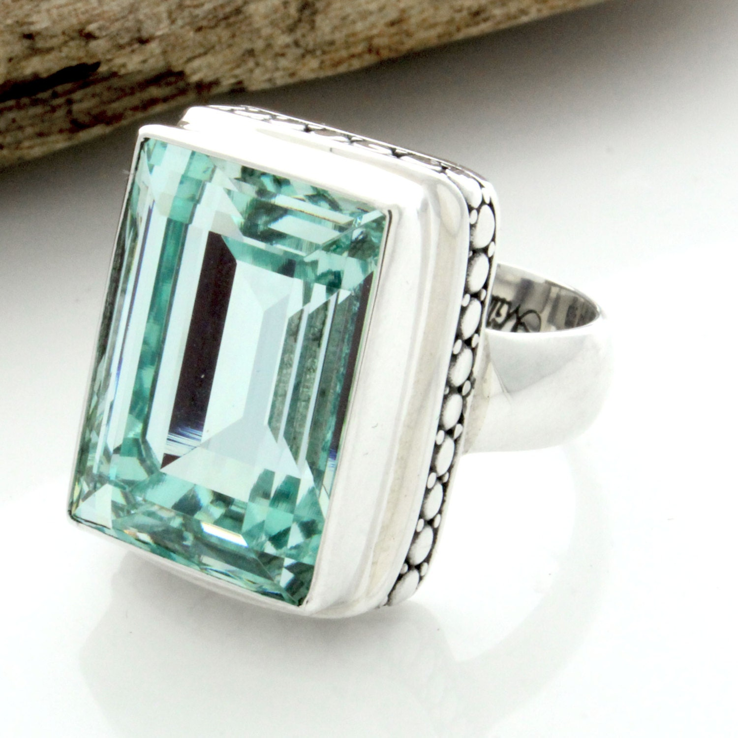 sterling silver rectangle bali ring emerald cut ring